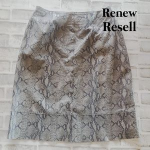INC Reptile Embossed Print Leather A-line Skirt